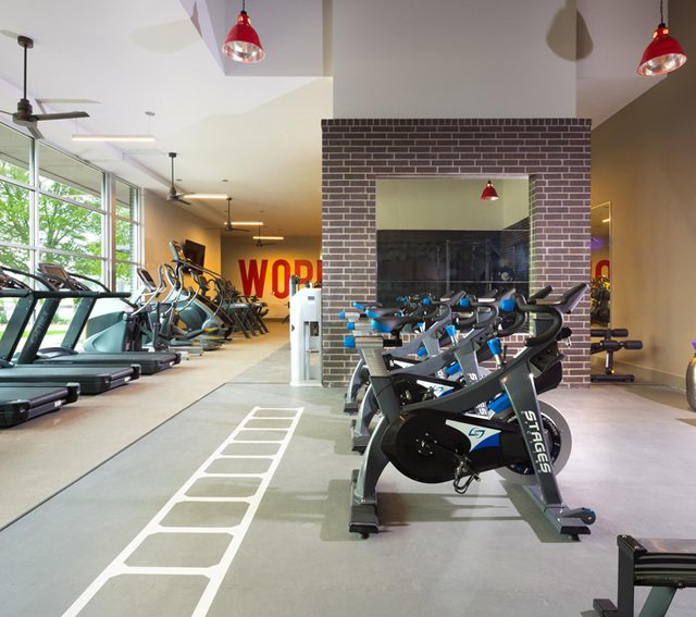 Fitness Center with Stationary Bikes and Treadmills